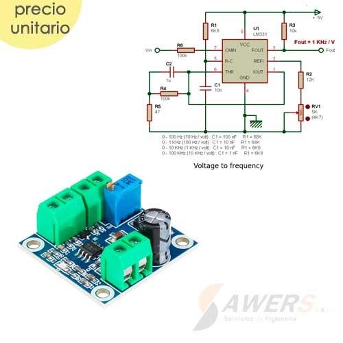 LM331 Conversor Voltaje a Frecuencia 0-10V a 0-10KHZ
