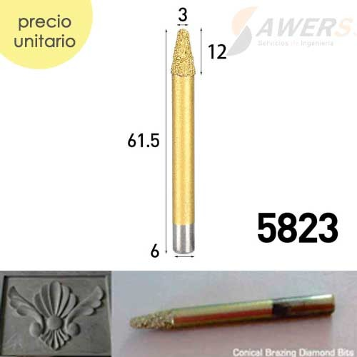 Fresa de grabado diamantado punta conica 3mm