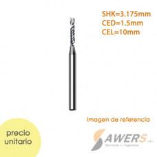 Fresa de corte espiral 1 flauta CED=1mm SHK=3.175mm