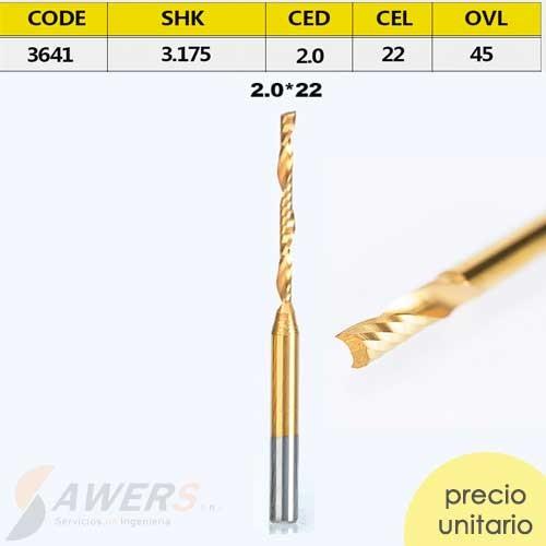Fresa Corte espiral Tin 1 flauta CED=2mm CEL=22mm