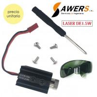 Modulo Laser 1.5W 405nm con lente ajustable 5V