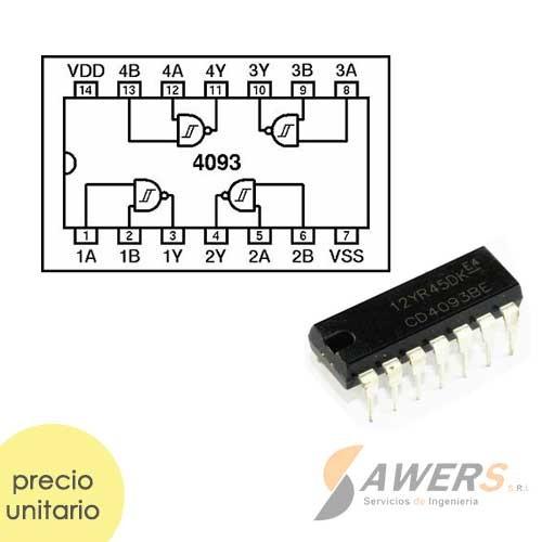 CD4093 CMOS Compuerta NAND Schmitt Trigger