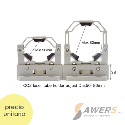 Kit soporte de tubo laser CO2 ajustable Dia.50-80mm
