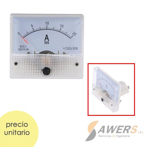 Amperimetro Analogico de tablero CC 20A