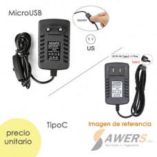 Cargador 5V-3A MicroUSB-Tipo C con Interruptor