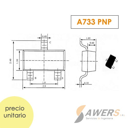 A733 Transistor PNP 50V 180Mhz smd 120hFE