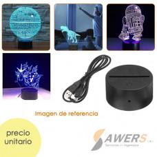 Base de lampara LED 3D tactil de 7 coloreS