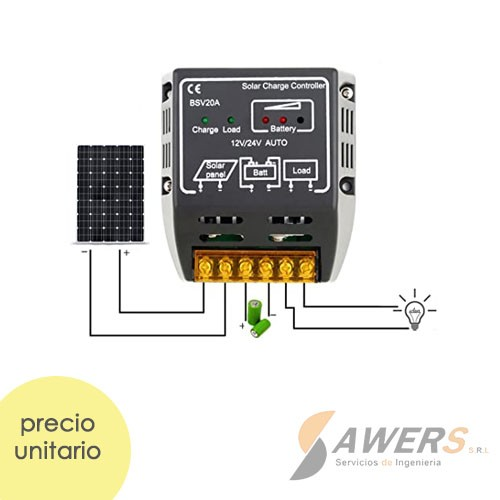 CMP12 Controlador de Carga Solar 12V-20A