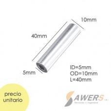 Espaciador de Aluminio ID=M5 OD=10mm L=40mm