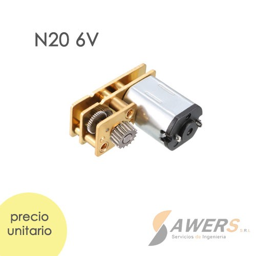 Micro Motorreductor N20 con engranaje invertido 6V 160rpm