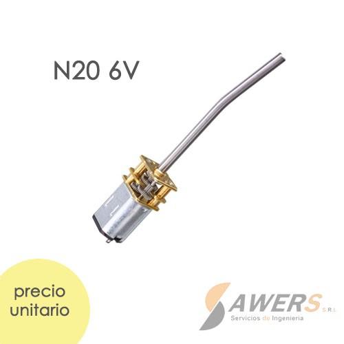 Micro Motorreductor N20 eje mezclador 6V 200rpm