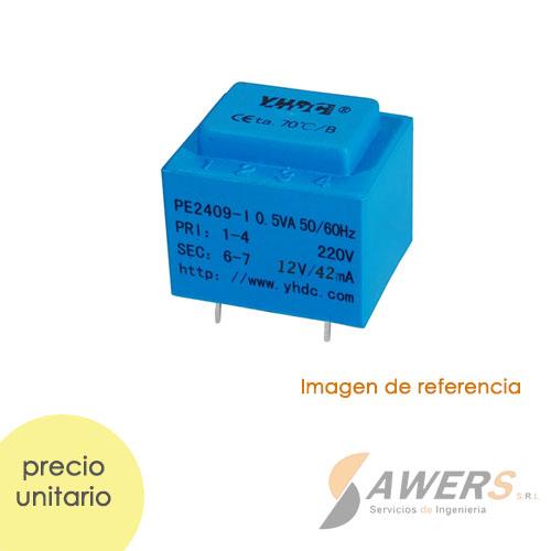 PE2409-I Tranformador de Aislamiento PCB  220V a 12V-42mA