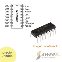 MCP3208 Conversor ADC 12bit 8CH DIP