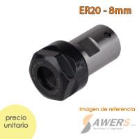 ER20 portabrocas Chuck + tuerca eje D=8mm